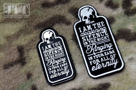 Deafening Silence Patches (PVC on left, embroidered on right)