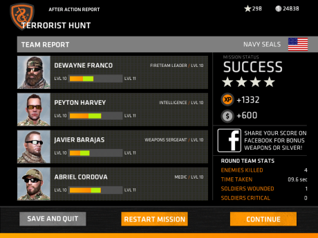 A rating and experience points are applied after the mission.